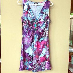 NWOT Venus embellished print party dress